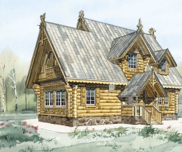 Русская изба. Russian wooden house.