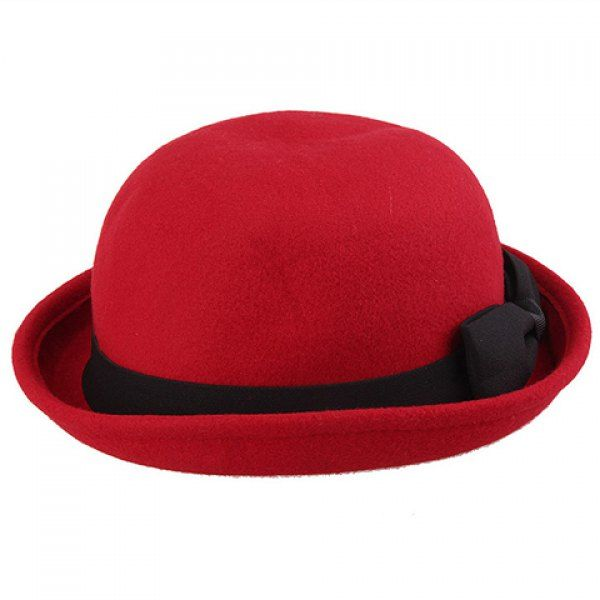 $7.23 Chic Bow Lace-Up Embellished Flanging Felt Hat For Women