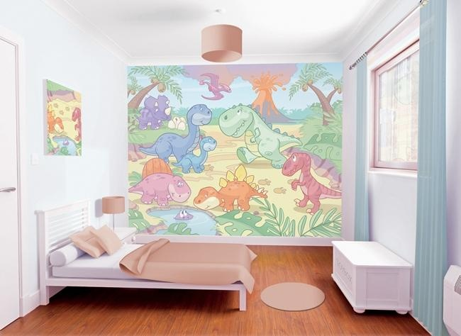 Baby Dinosaur Mural Ideal For Nursery Rooms Available At Wolfstock Uk