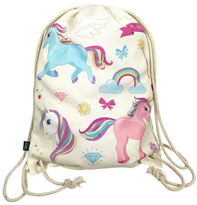 Einhorn Turnbeutel Zugbeutel Unicorn Mädchentasche Kindergarten Schule Freizeit