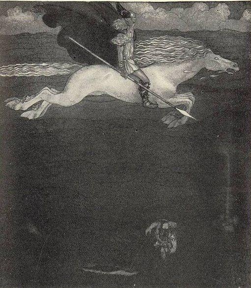 Odin et Sleipnir, 1901, par John Bauer (1882-1918), peintre et illustrateur suédois.