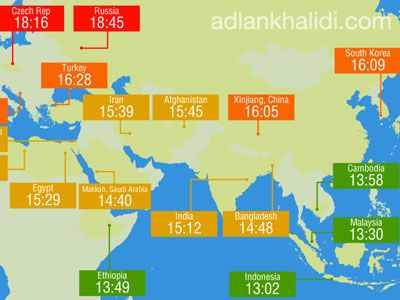 [Infographic] Muslim Fasting Duration Around The World in 2013