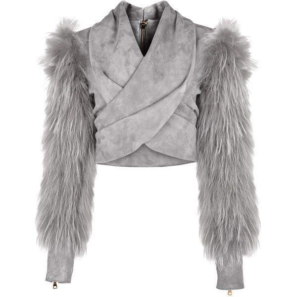 Balmain Grey cropped wrap-effect suede jacket ($4,155) ❤ liked on Polyvore featuring outerwear, jackets, gray suede jacket, balmain, wrap around jacket, grey jacket and wrap jacket