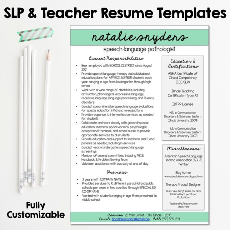 slp teacher resume and cover letter templates fully editable