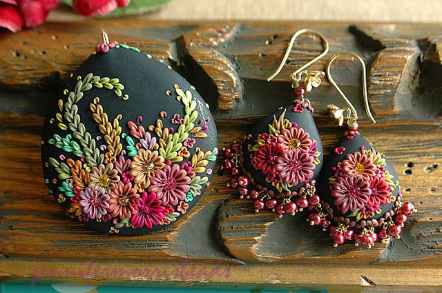 vintage mexican embroidery inspired pieces by jennifermorris, via Flickr: Clay Jewelry, Mexican Embroidery, Inspiration Pieces, Clay Flowers, Polymer Clay Embroidery, Vintage Mexicans, Mexicans Embroidery, Embroidery Inspiration, Flowers Pendants