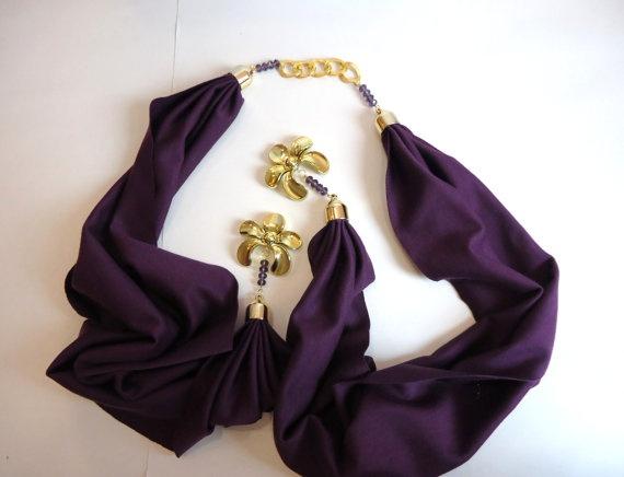 Womens Scarves Purple Scarf Women Accessory Jersey by bytugce, $29.00