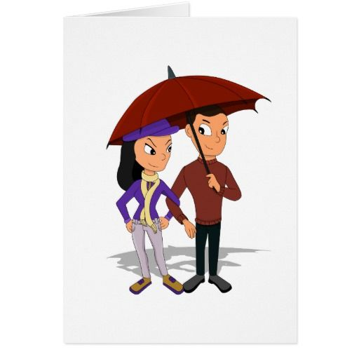 Custom young happy couple cartoon card