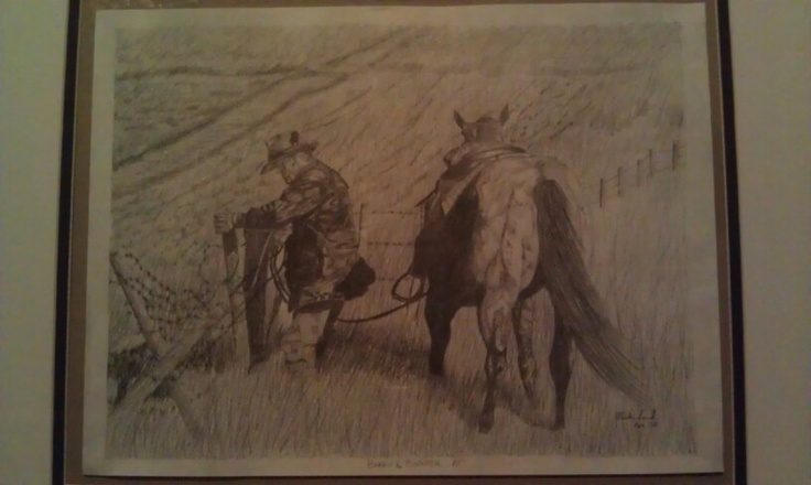 A drawing I did for my father in law called Barry and Booger (the horses name is booger LOL) by Vicki Lind from Alberta Canada