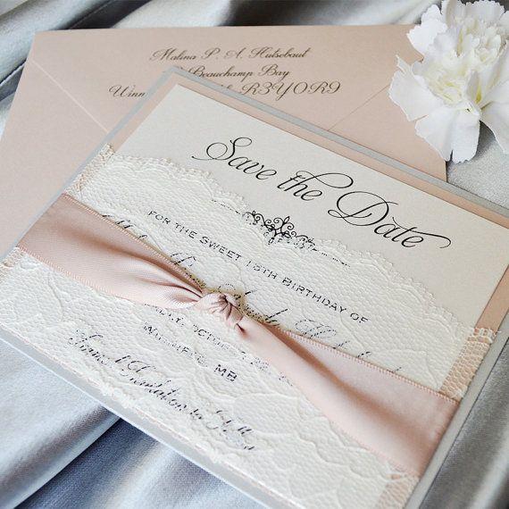 LACE POCKET Save The Date - Silver Glitter & Blush Save the Date Card with Ivory Lace Pocket and Antique Pink Ribbon