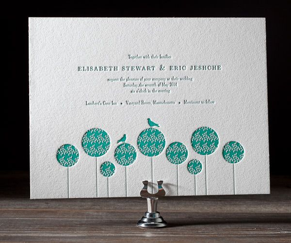 Perfect for a contemporary styled garden party wedding, these eco chummy letterpress announcements will leave your guests hearts aflutter.