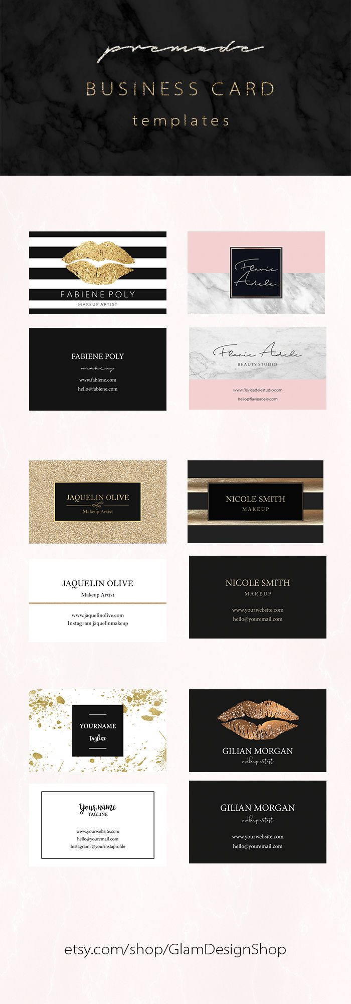 Feminine business card templates - instant downloads Photoshop templates - makeup artist business card design  #femininebusinesscard  #makeupbusinesscard