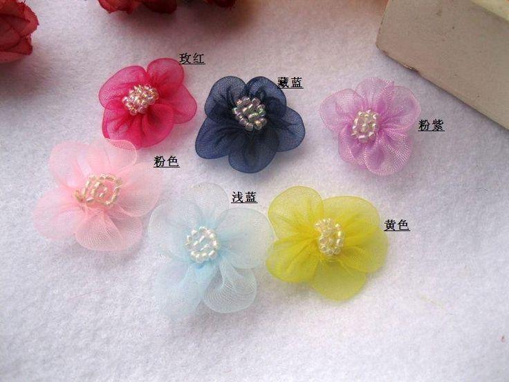 Ems доставка 2.5 см шифон цветы ручной работы, Одежда декоративные аксессуары / цветы, Скрапбукинг, Diy волосы цветы, Шелковые цветы