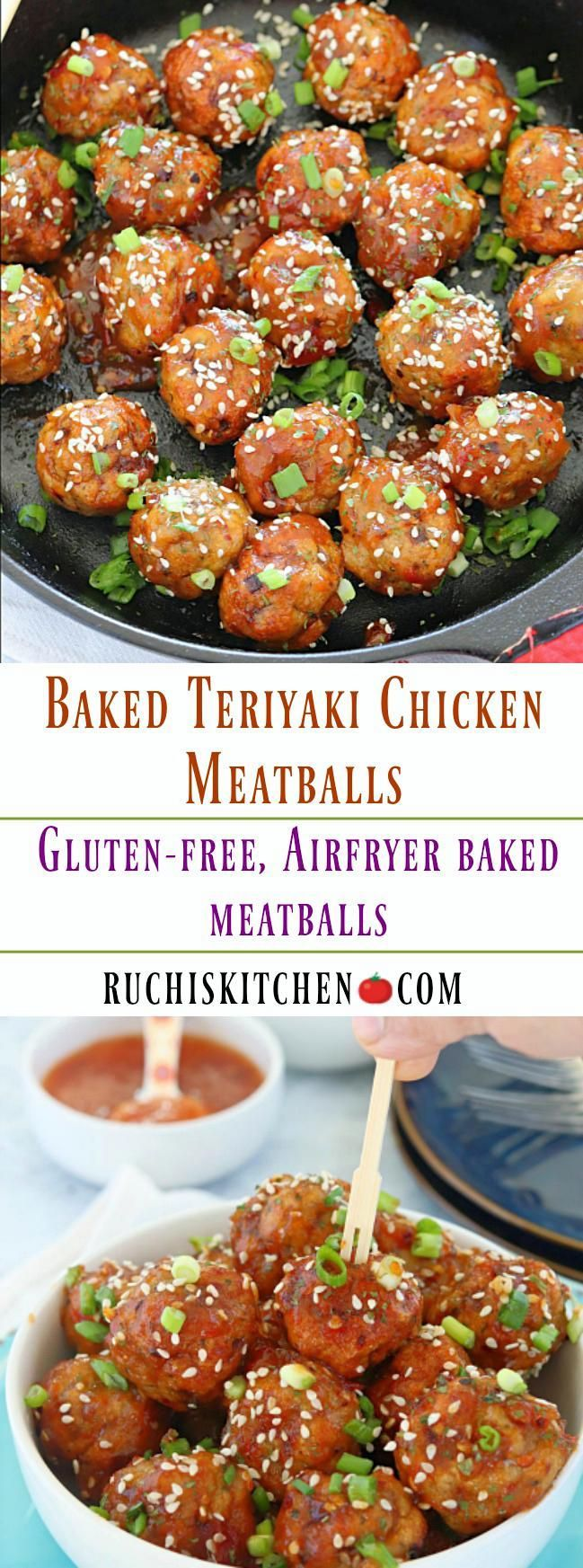 Gluten-free, air fryer Baked Chicken Meatballssmothered in a spicy teriyaki sauce is anultimate game day appetizer. So easy-to-make andan absolute crowd pleaser recipe! #gameday #appetizer #chickenmeatballs #gamedaysnacks #meatballs #teriyakimeatballs