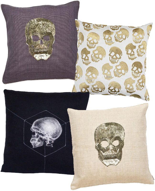 Edgy skull throw pillows will add a chic style to your space #decor #home #ideas