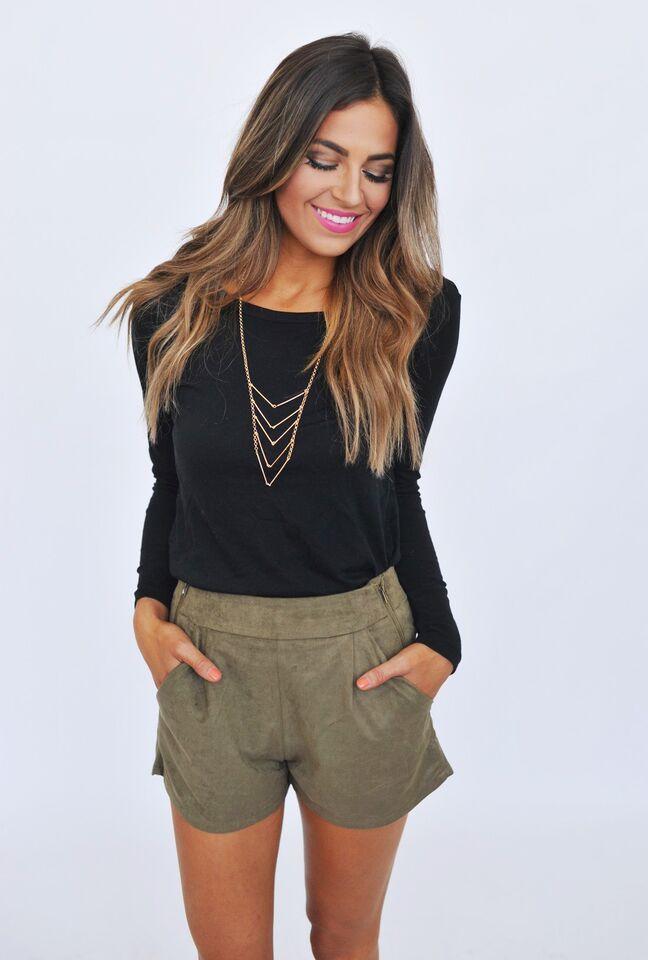 Olive Suede Shorts - Dottie Couture Boutique