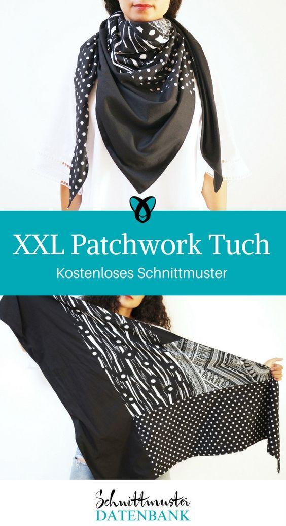 703fef113ca696 Tuch Dreieckstuch nähen kostenloses Schnittmuster XXL Patchwork Schal  dreieckig Anleitung Video für Erwachsene für Männer Herren Damen Frauen  gratis ...