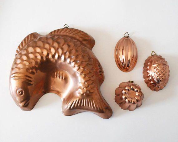 Copper Kitchen Molds Fish Jello Mold Farmhouse by CalloohCallay