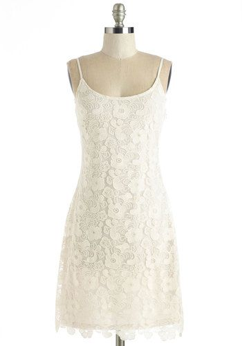 Be Coastal My Heart Dress - Mid-length, Knit, Lace, White, Solid, Casual, Sundress, Sheath, Spaghetti Straps, Spring, Summer