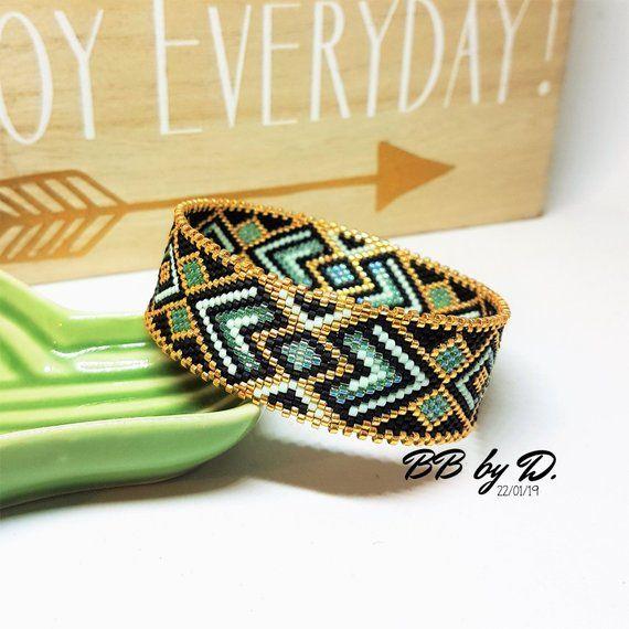très loué design distinctif trouver le travail Bangle Bracelet Miyuki Délicas, doré,vert,noir.Manchette ...