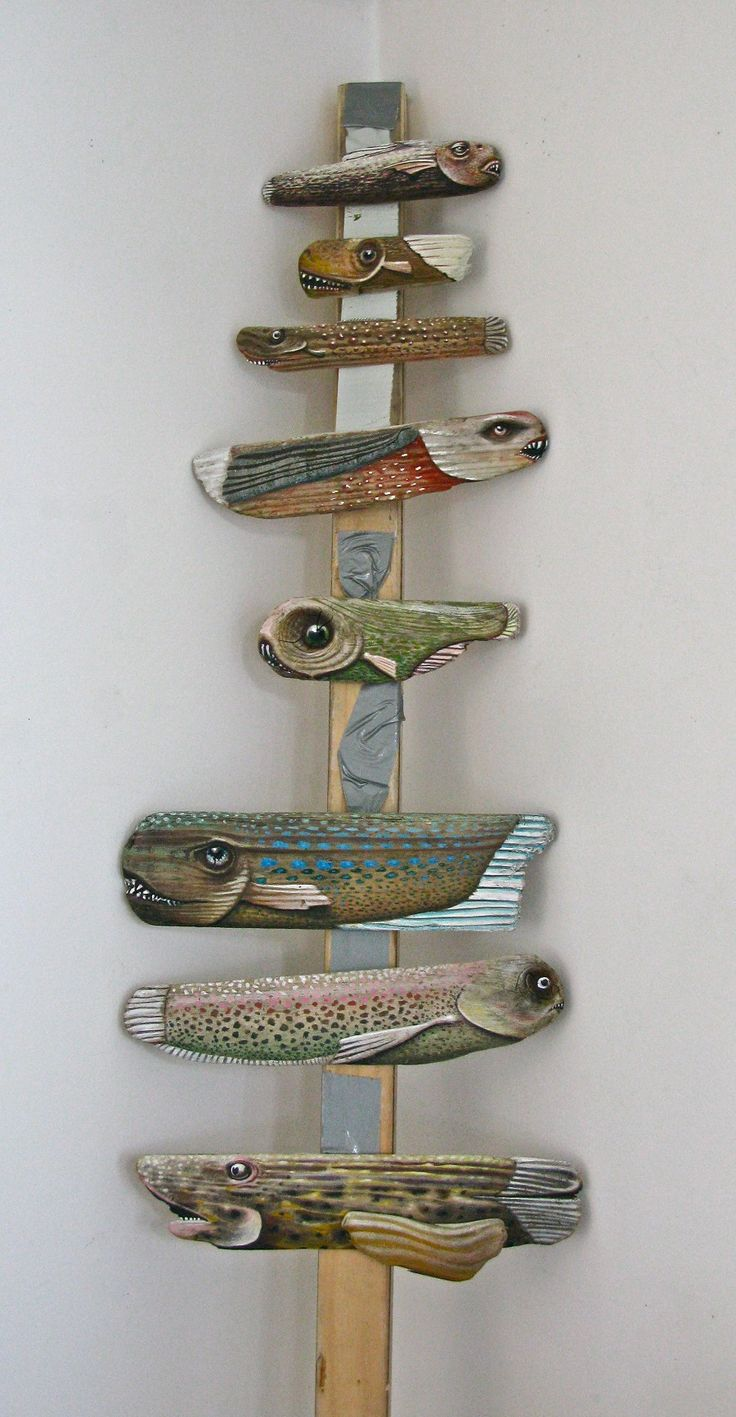 Painted Driftwood Fish Sculpture