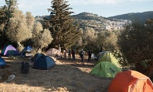 Refugees' tents near Vathy in Samos.