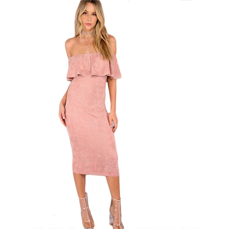Aliexpress.com : Buy COLROVIE Woman Party dresses Elegant Evening Sexy Club Dresses Backless Midi Pink Faux Suede Off The Shoulder Ruffle Dress  from Reliable club dress suppliers on COLROVIE Official Store