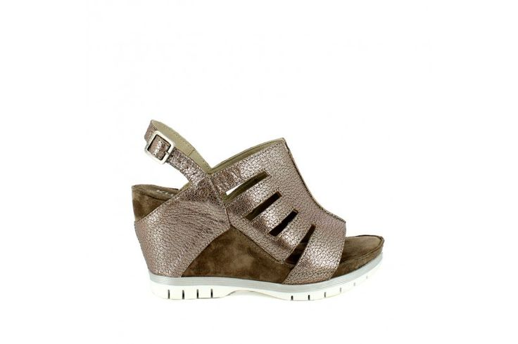 Elisir Marrone   Sandal in real leather vintage effect with suede inserts. Adjustable strap, rubber sole and wrapped wedge 9 cm high