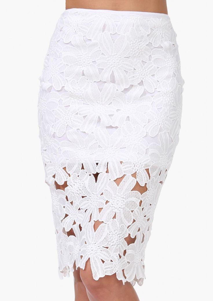 White Crochet Pencil Skirt 14.33