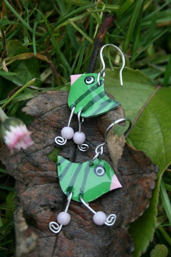 Charming green dangle bird earrings Green by CinkyLinky, $21.00
