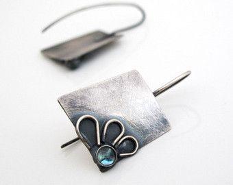 Fiore pendente in argento ossidato orecchini vintage ispirato