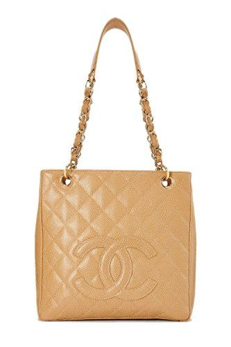 9c3058d3c20a SALE PRICE - $2850 - CHANEL Beige Quilted Caviar Petite Shopping Tote (PST)  (Pre-Owned)