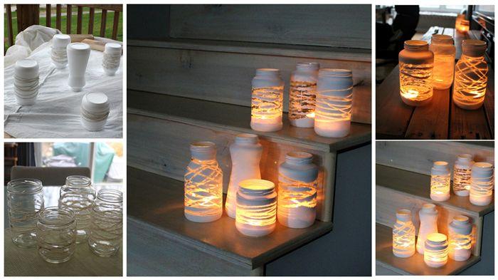 gemaakt van lege glazen potten