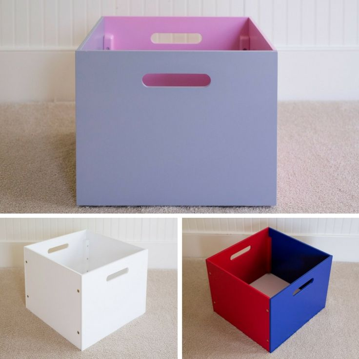 Toy Boxes - reversible sides with different color combinations to use as stand alone toy storage or in conjunction with our floor hutches. Mix and match our storage solutions to get the right look for your needs.