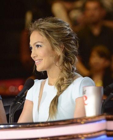 Jennifer Lopez hair at American Idol - messy braided hair