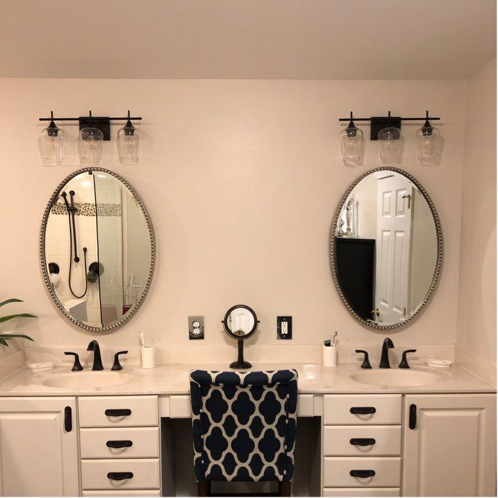 Hickerson 3 Light Dimmable Vanity Light Oval Mirror Bathroom