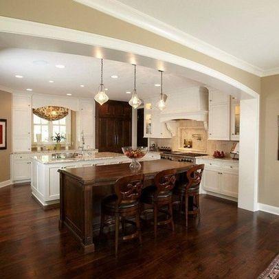 tan walls, white trim, dark cabinets, dark floors   ideas