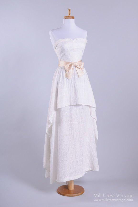 1950's Eyelet Sweetheart Vintage Wedding Dress : Mill Crest Vintage $565