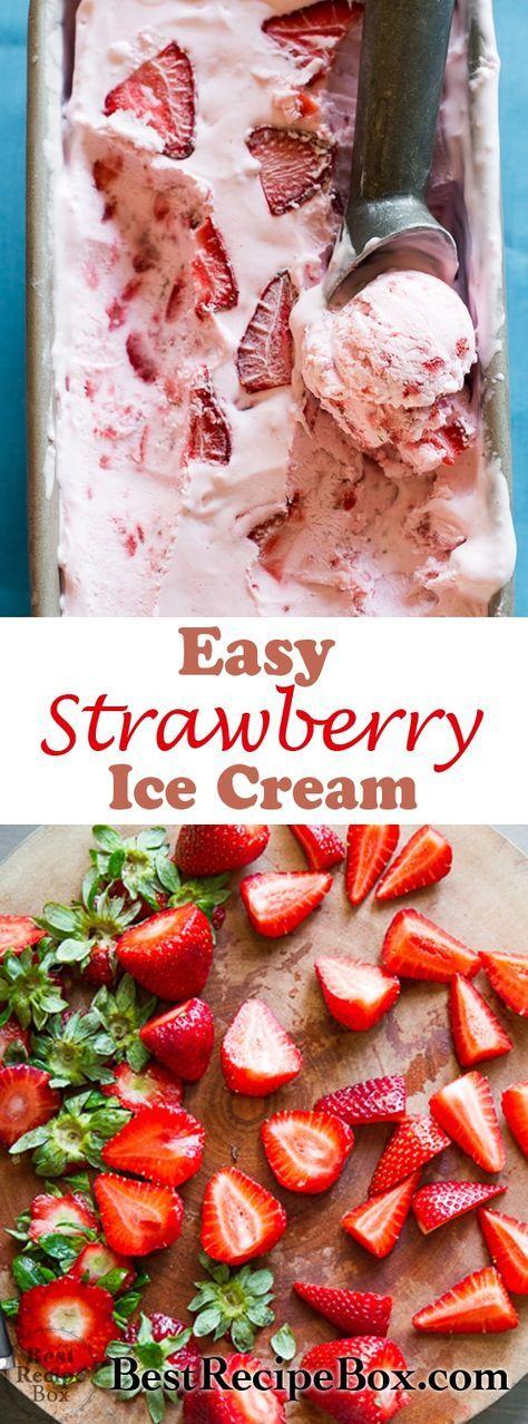 Erstaunliches Rezept für frisches Erdbeereis ohne Eismaschine. Keine Abwanderung, …  – Recipe Box❤️Swap!