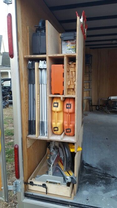 "#4 of 8 BEST PLANNED WORK TRAILER. I used 30"" BLUM soft close undermount slides for the miter saw tray with a slide bolt to keep it in place during travel. In the back of that miter saw  tray are vertical slots to hold sharp and used blades. All tools at the back of the trailer are used almost daily. Ones used less frequently are further in the trailer. I have a maple plywood top for the horses with a hand cutout that sticks further out than the horses for easy access. Mobile tool storage."