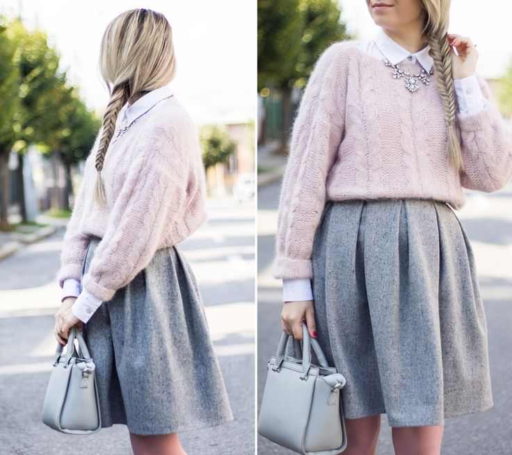 grey pleated skirt, pink sweater, soft colors, autumn look, outfit, ootd, grey bag, shirt with sweater, knitwear, andreea ristea