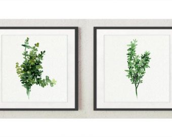 Thyme Art Print Green Kitchen Decor, Square Watercolor Painting Medicinal Plants Set, Two Herbs Wall Decor Gifts for Women Herb Illustration