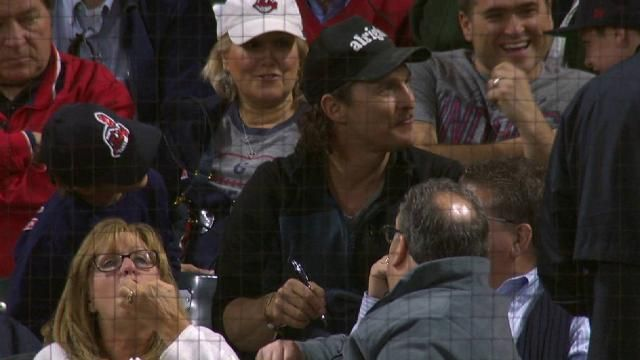 ALRIGHT, ALRIGHT, ALRIGHT! Matthew McConaughey takes in an #MLB  #Indians game.