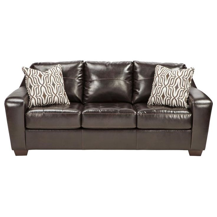 Ashley Coppell Dark Brown Bonded Leather Sofa | Weekends Only Furniture and Mattress