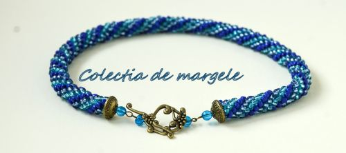 Bluehorse -  crochet beading necklace  www.colectiademargele.ro