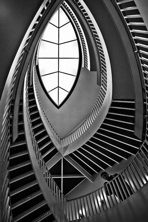 The Minds Eye. Brian Day Photography.  The Fish-Eye staircase  at the Museum of Contemporary Art [MCA].  Chicago, IL.  Architect: Josef Paul Kleihues