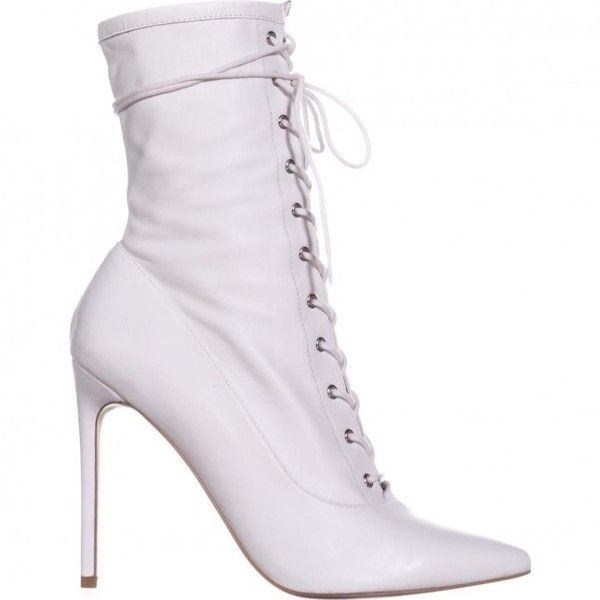 Steve Madden Satisfied Lace Up Ankle Boots, White Leather (85 AUD) ❤ liked on Polyvore featuring shoes, boots, ankle booties, heels, short leather boots, leather bootie, lace-up bootie, white ankle boots and laced up ankle boots
