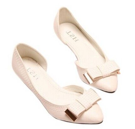 Pretty Women's Flat Shoes With Stitching and Bow Design Color: LIGHT PINK,  WHITE,