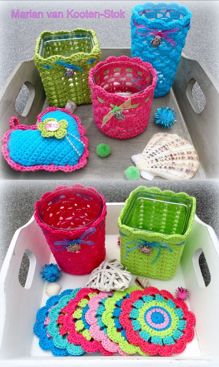 For the coasters I used this pattern http://theflowerbed-shr.blogspot.nl/2011/02/decision-time.html and I used a free pattern for crochet jars.