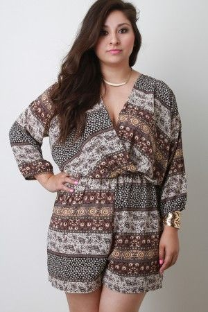 Paisley Romper in Plus Sizes