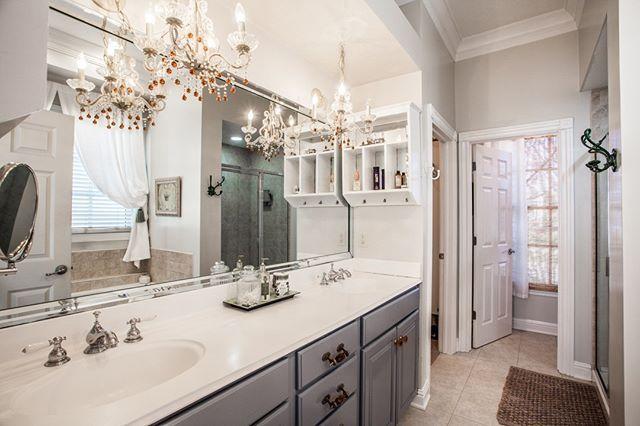 Opulent Master Bath has great lighting and tons of vanity space.  2287 Glebe Street Carmel IN 46032  Village of WestClay $599900 http://glebe.callmatt.in  Courtesy of FC Tucker Co.  #talktotucker #fctucker #callmatt #realtor #luxuryrealestate #realestate #indyrealestate #villageofwestclay